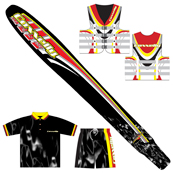 Portfolio Image 32, Connelly skis brand line themed items; ski, shirt, water-shorts, ski-vest
