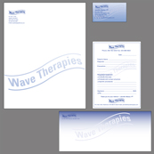 Portfolio Image 26, health care provider begining identity program, design of stationery; letterhead, card, envelopes